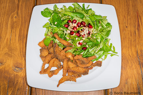 Karpfenchips mit Salat